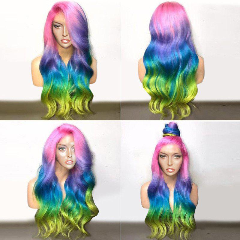 Deep Side Parting Long Colorful Wavy Ombre Party Synthetic Wig