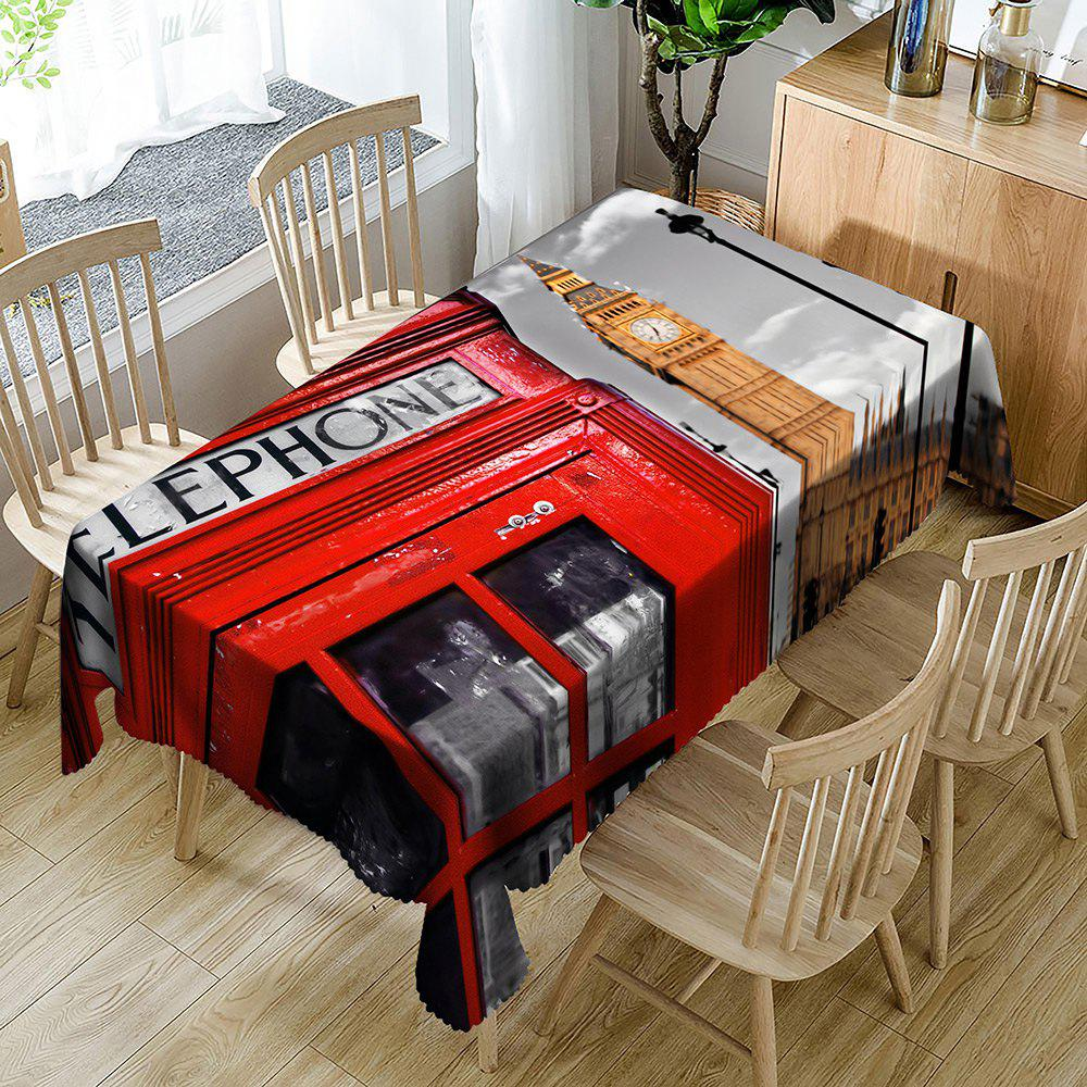 Fashion Telephone Booth Big Ben Pattern Table Cloth
