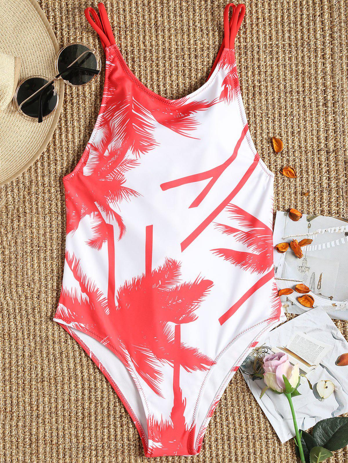 Fancy Palm Trees One Piece Lace-up Swimsuit