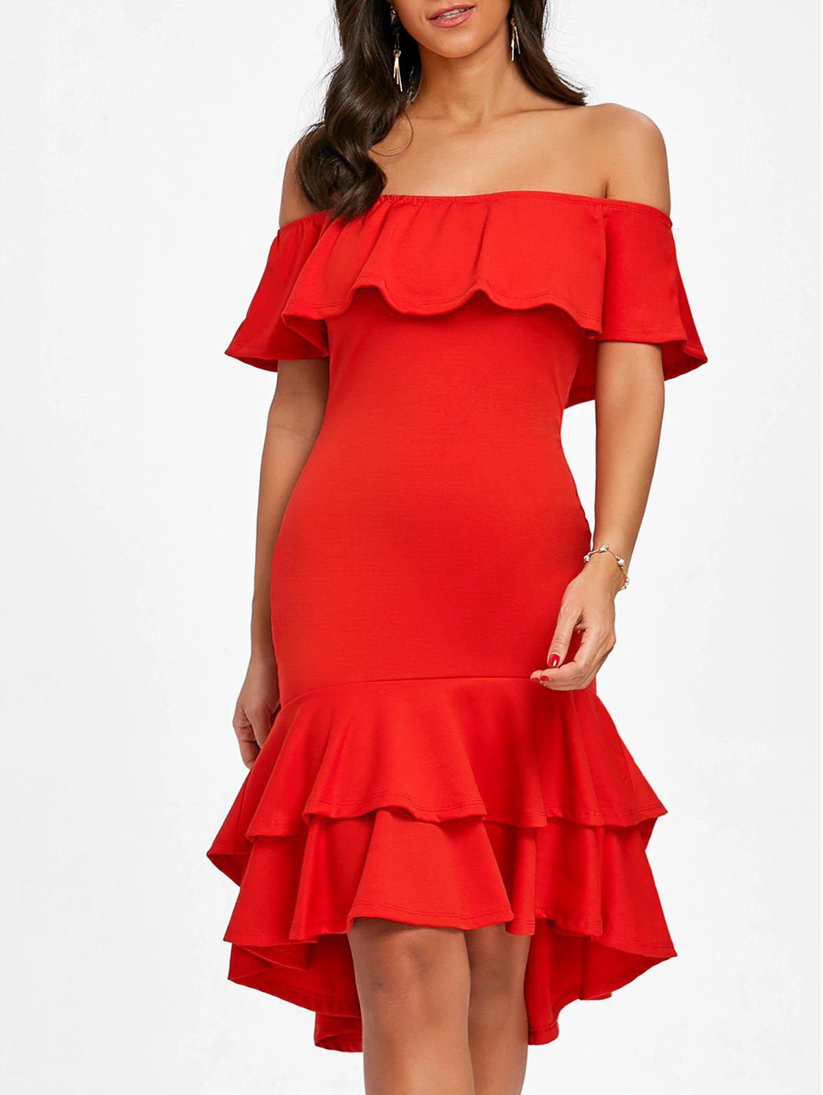Fancy Ruffle Off The Shoulder Bodycon Dress