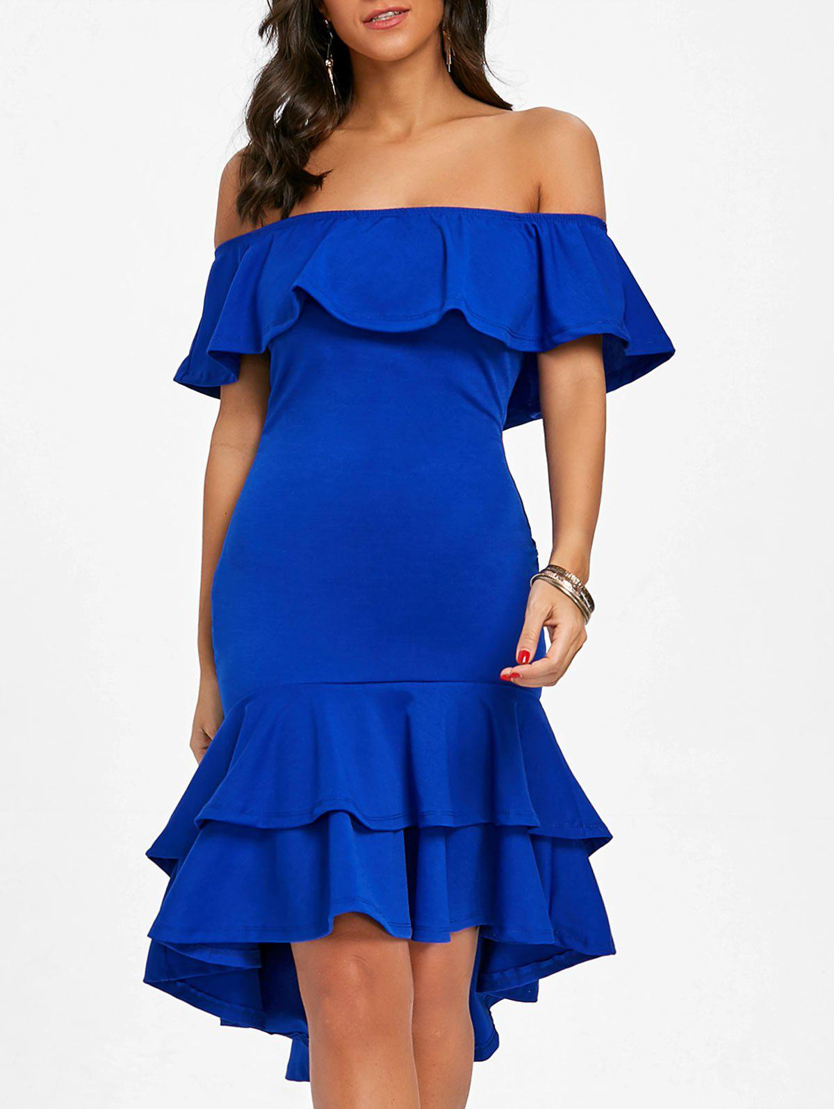 Latest Ruffle Off The Shoulder Bodycon Dress
