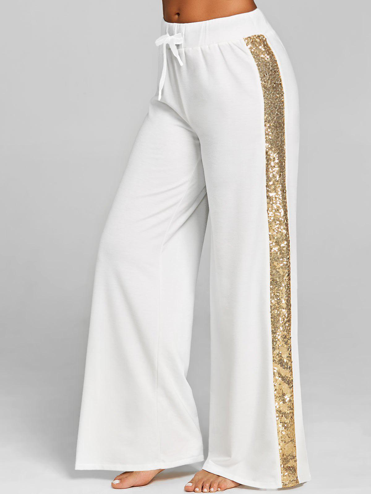 Affordable Sequined Drawstring Wide Leg Pants