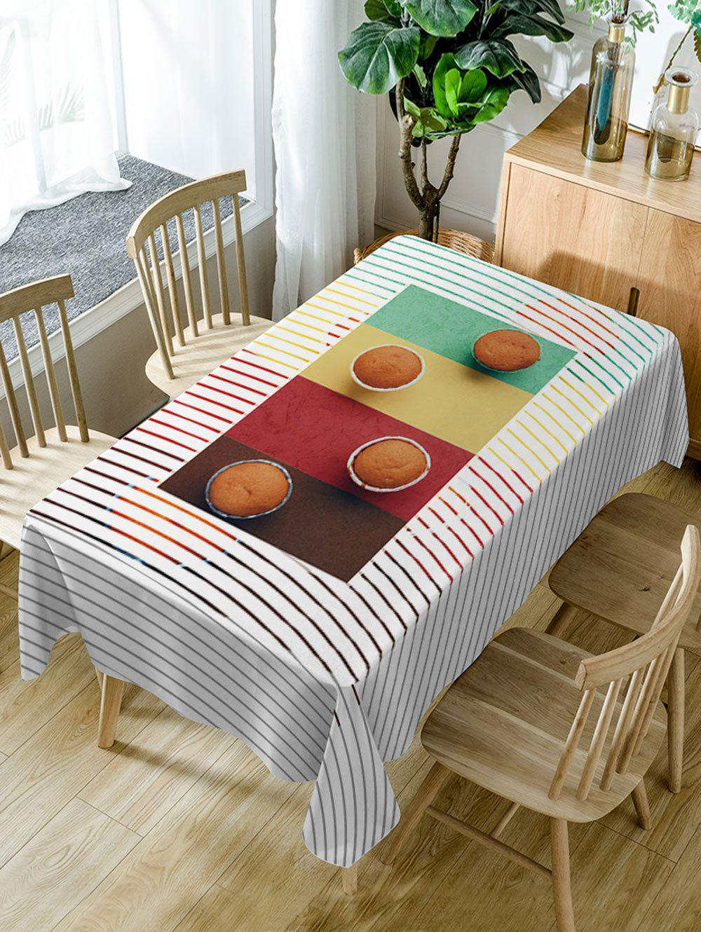 Hot Cake Stripe Print Waterproof Dining Table Cloth