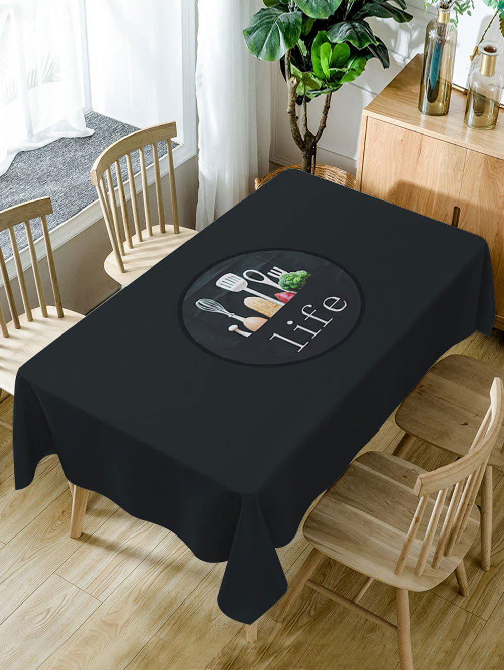 Chic Life of Kitchen Print Waterproof Dining Table Cloth