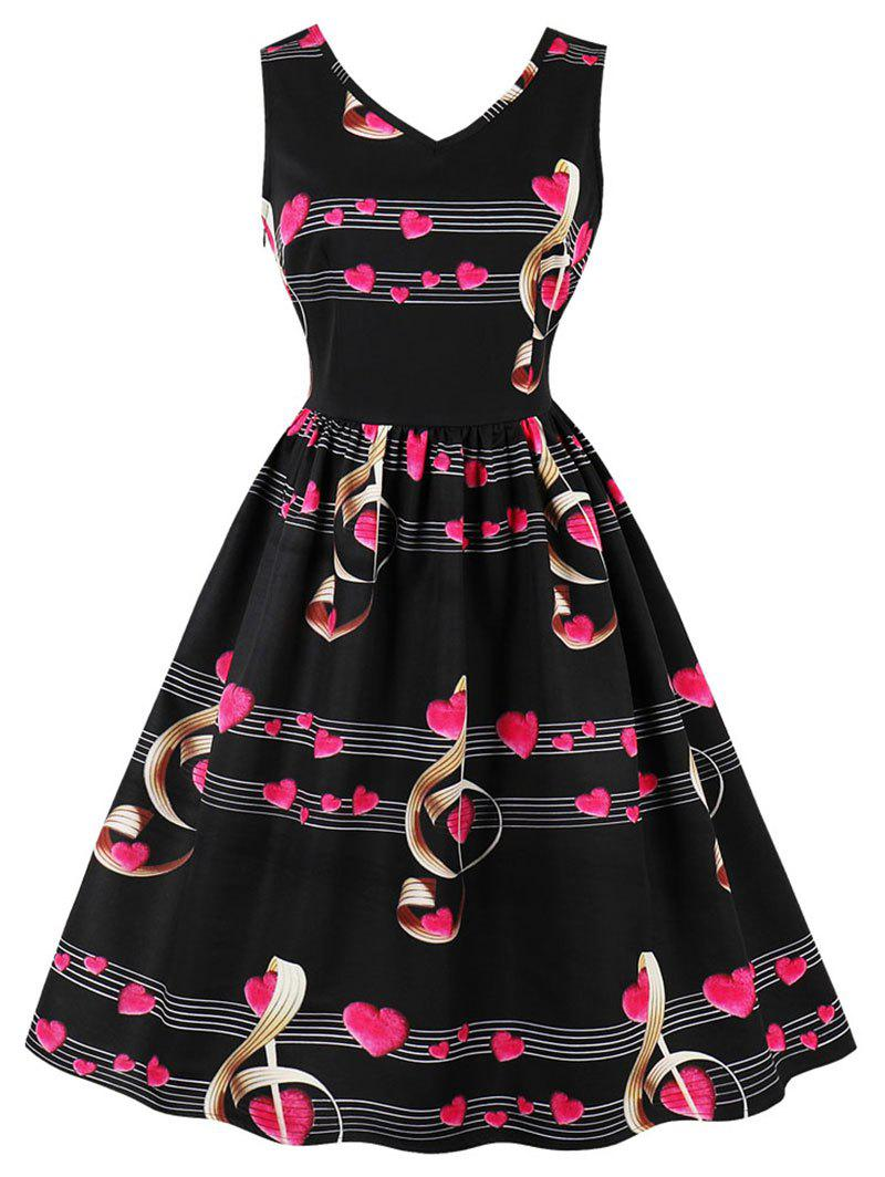 Trendy Retro Heart Music Notes Valentines Flare Dress