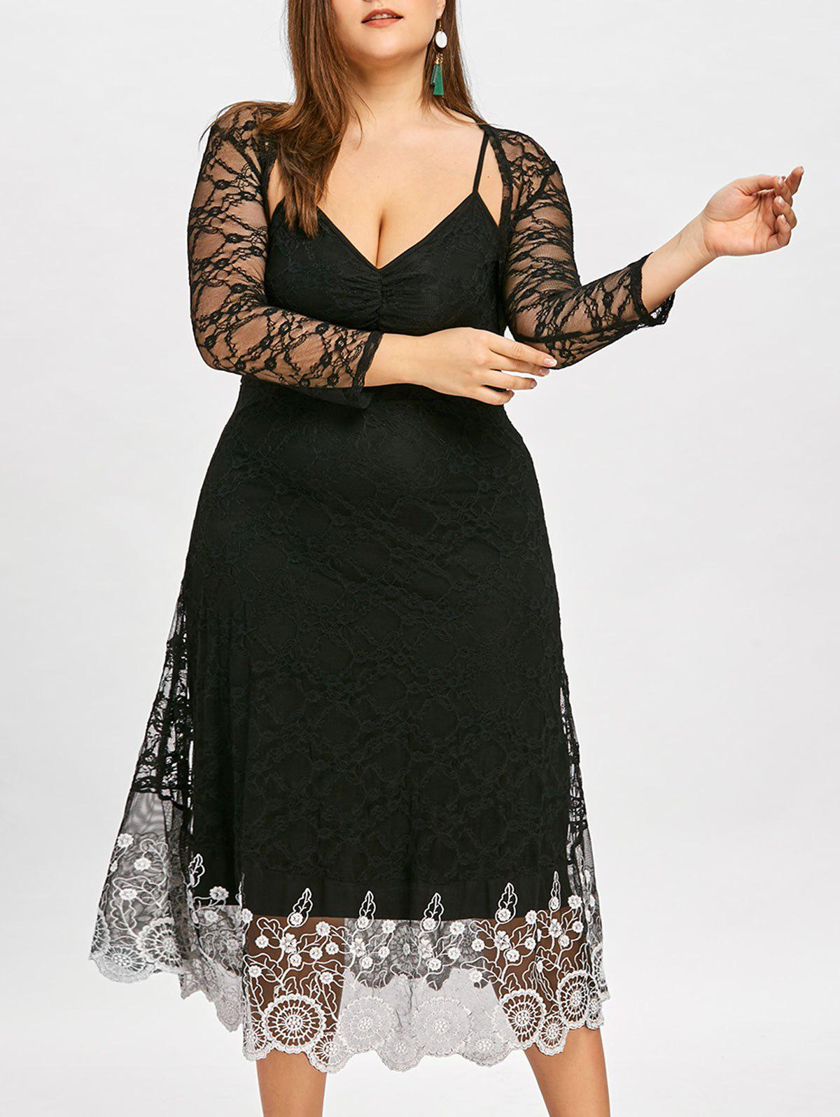 Unique Plus Size Contrast Lace Slip Dress with Capelet