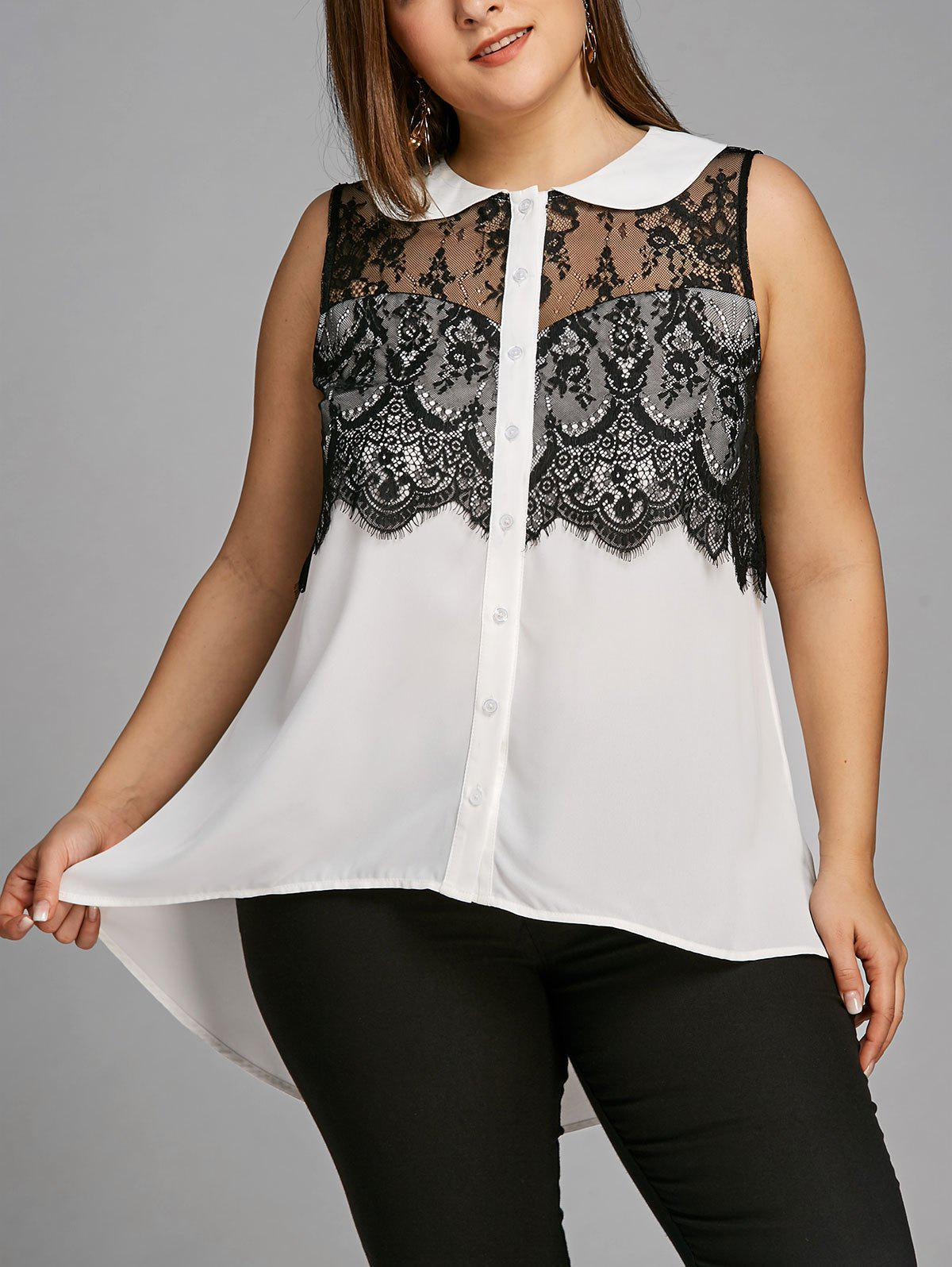 Hot Plus Size Sleeveless Lace Trim High Low Blouse