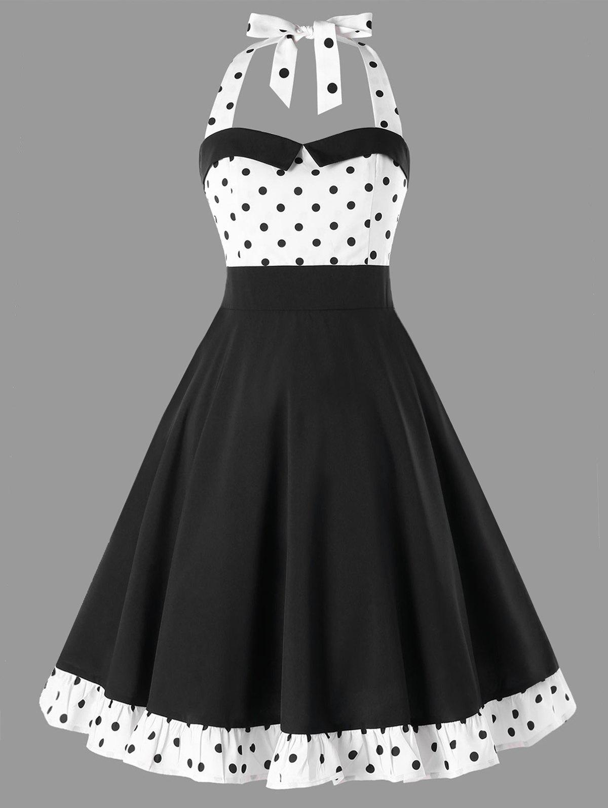Latest Polka Dot Halter 50s Dress