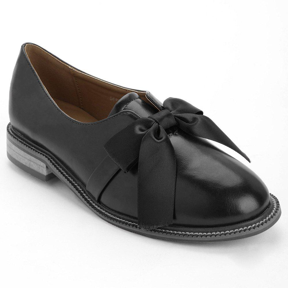 Sale Bowknot Faux Leather Loafers