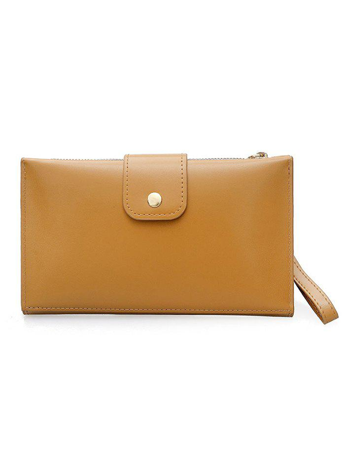 New Pure Color PU Leather Hasp Folded Clutch