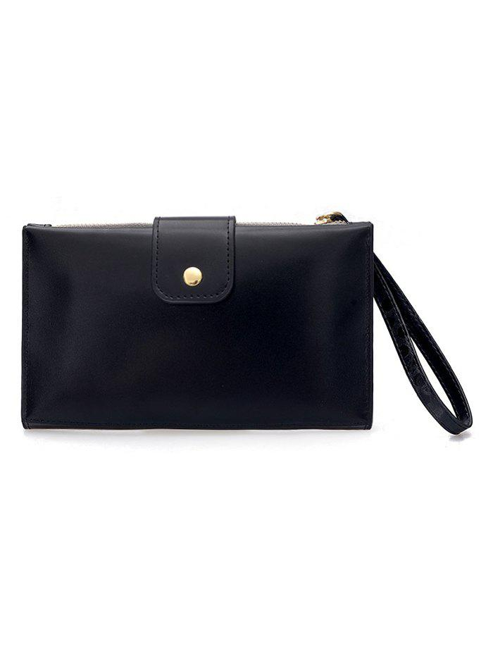 Sale Pure Color PU Leather Hasp Folded Clutch