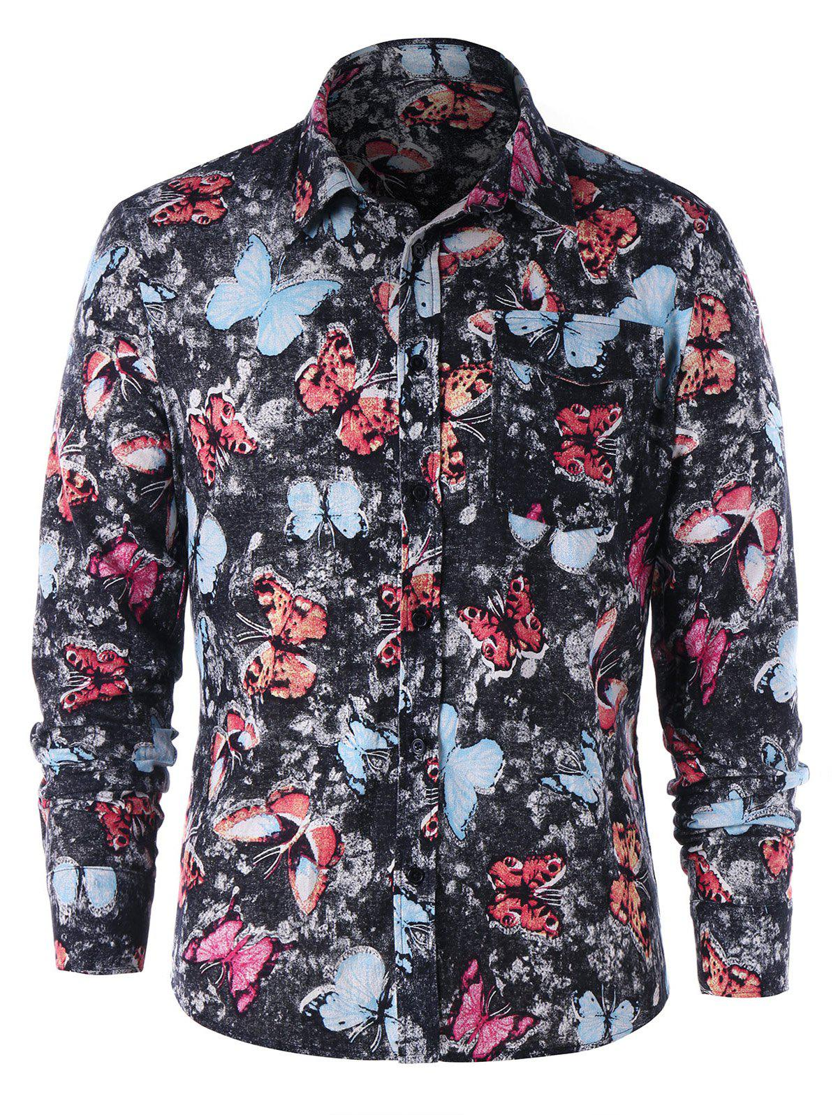 Latest Single Pocket Butterfly Print Shirt