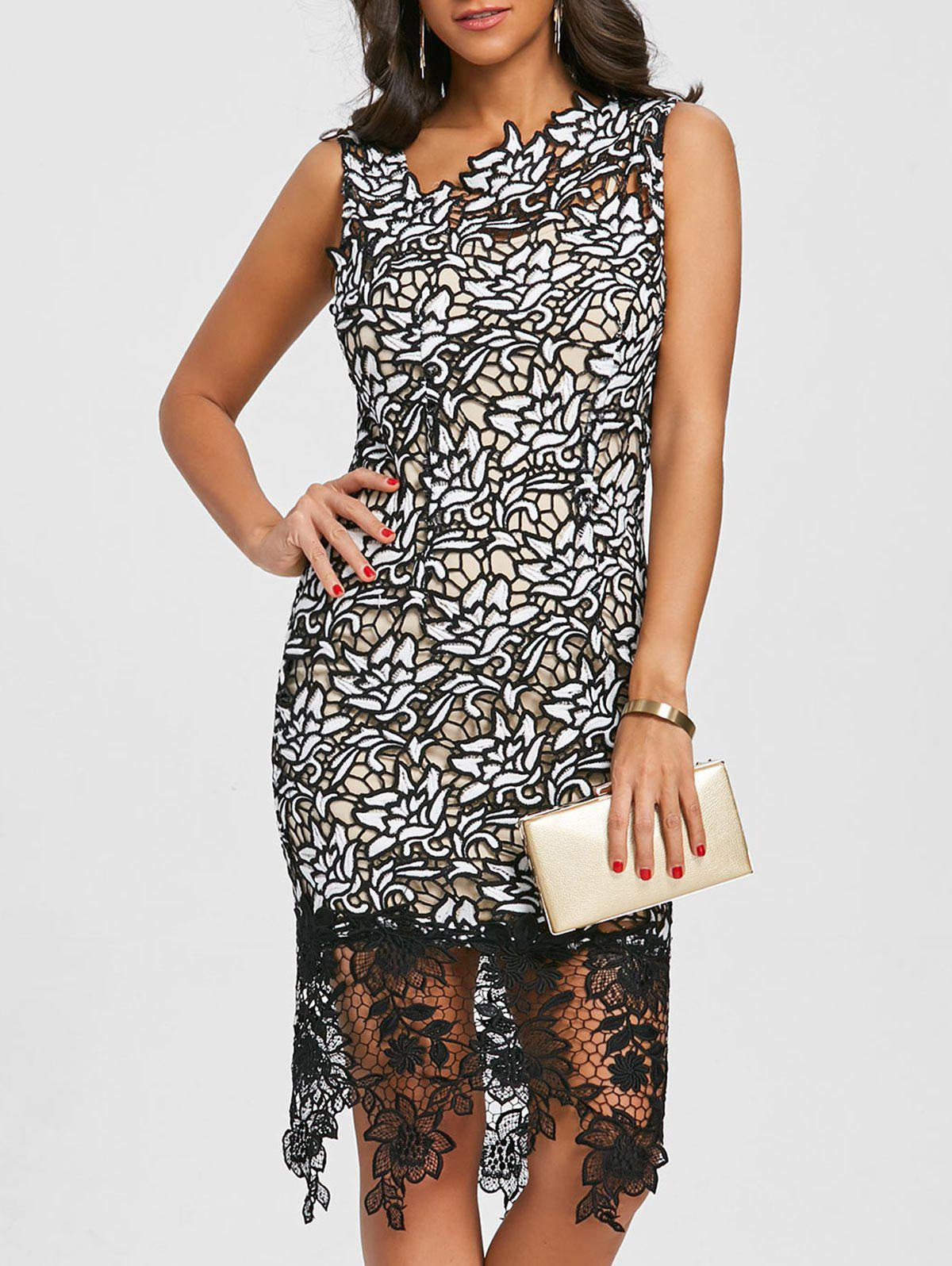 Affordable Skew Neck Lace Party Dress