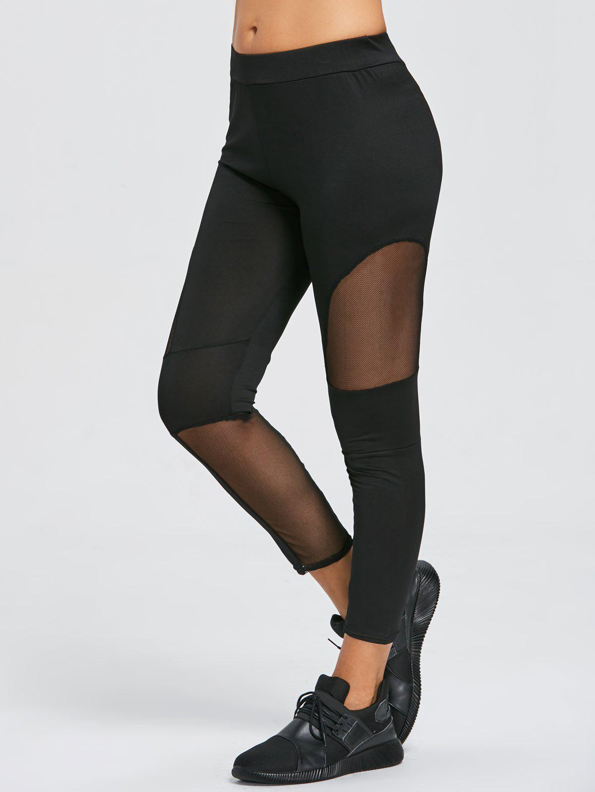 Outfit Sheer Mesh Panel Sports Leggings