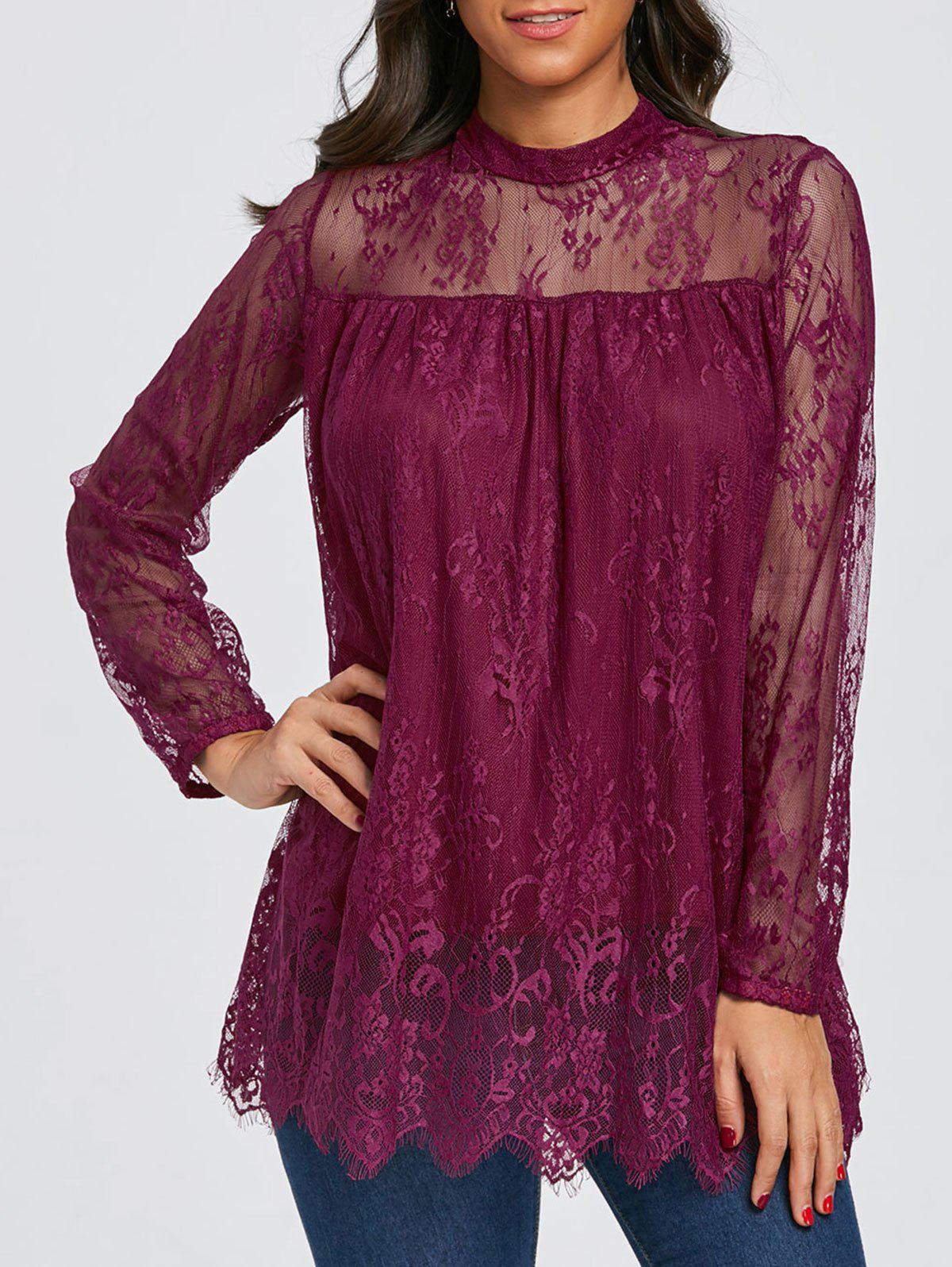 Cheap Mock Neck Sheer Lace Blouse