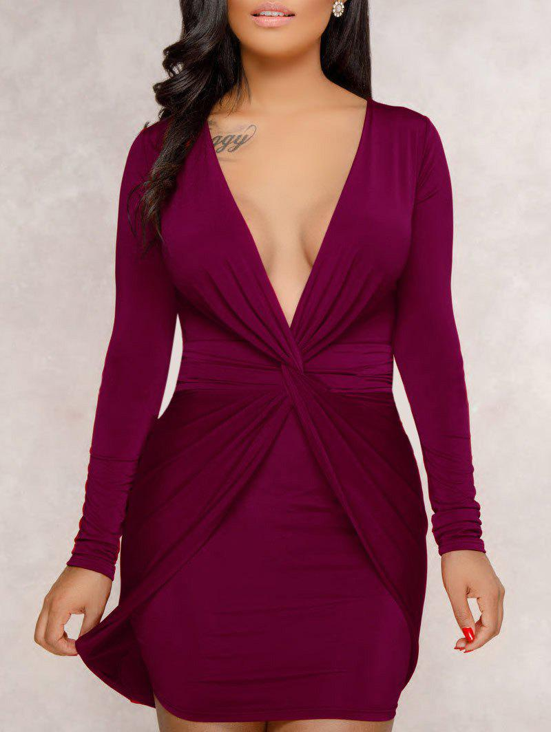 Chic Plunge Twist Front Bodycon Dress