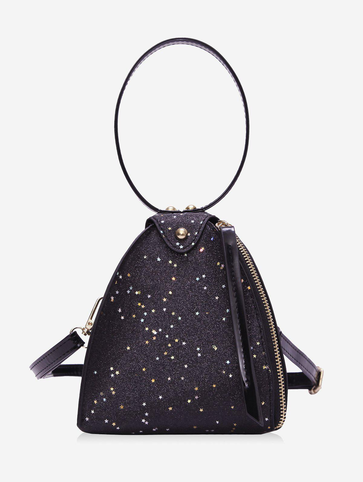 Buy Geometry Sequined Shimmer Handbag with Shoulder Strap