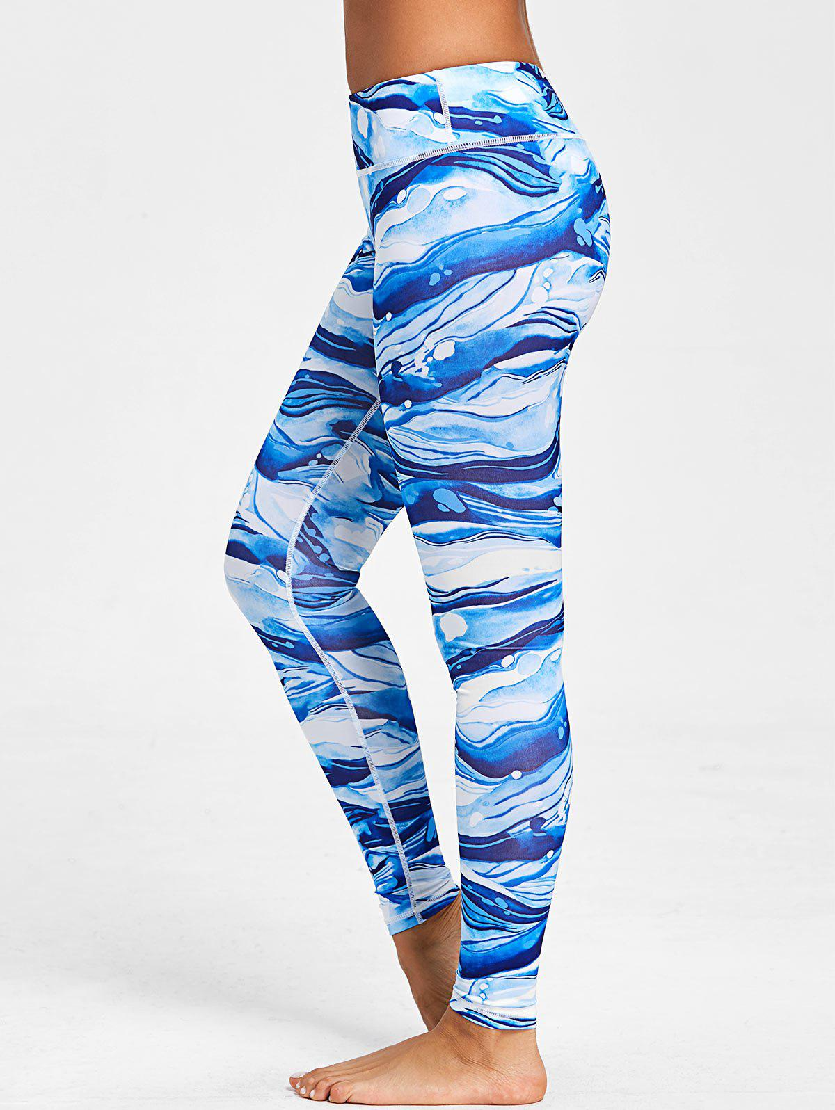 Hot Ocean Waves Print Elastic Waist Workout Leggings