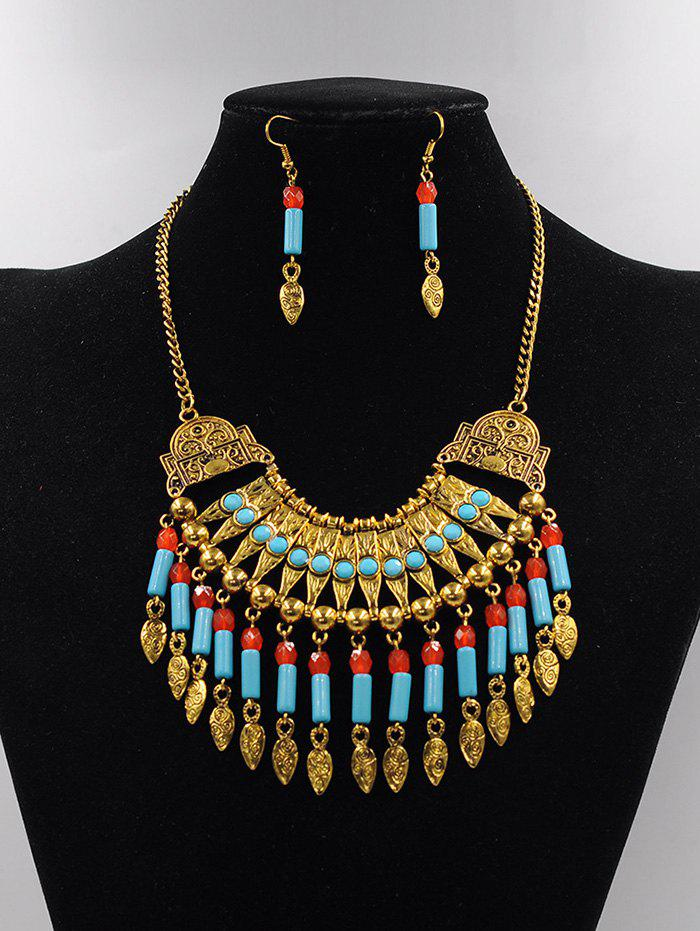 Latest Bohemian Alloy Engraved Beads Necklace and Earring Set