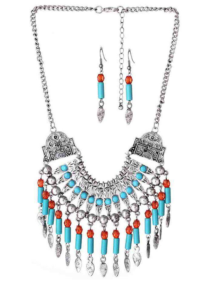 Affordable Bohemian Alloy Engraved Beads Necklace and Earring Set