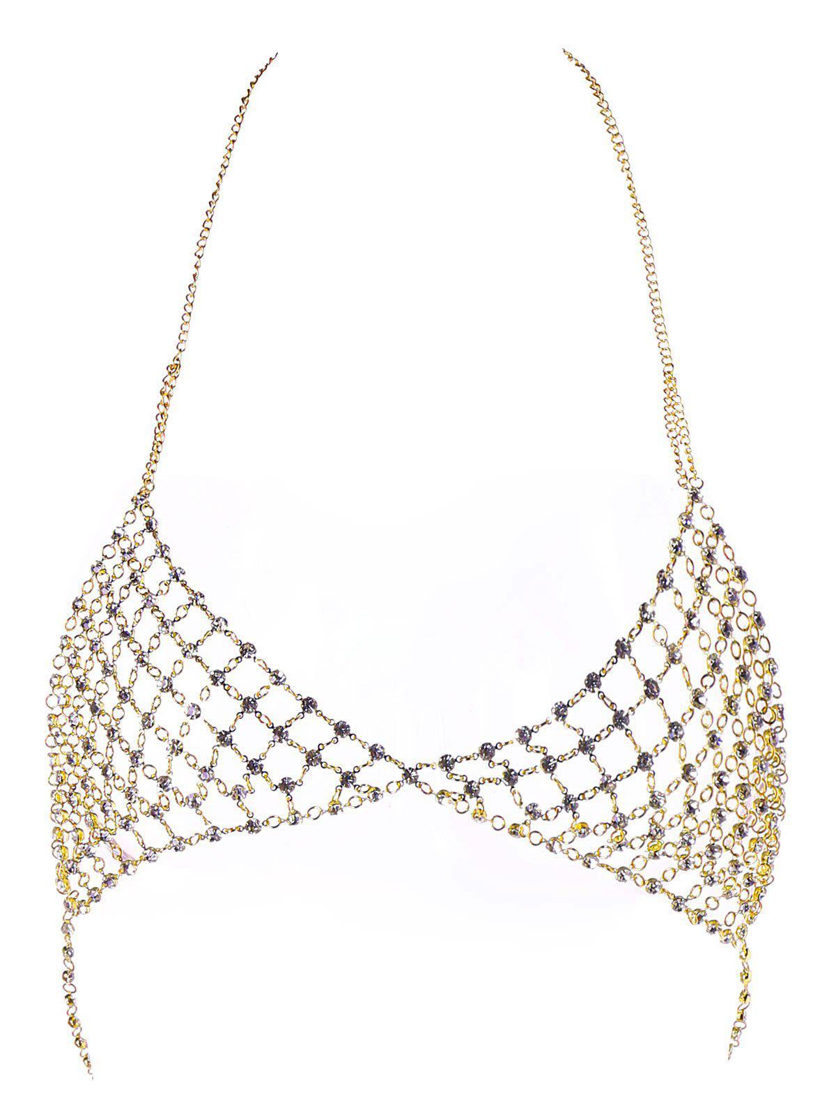 Chic Faux Rhinestone Body Chain Bra