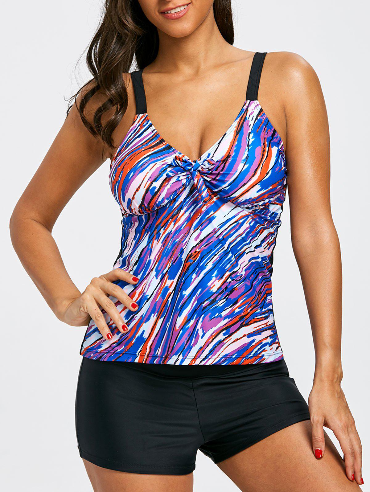Fancy Cami Strap Empire Waist Tankini Set