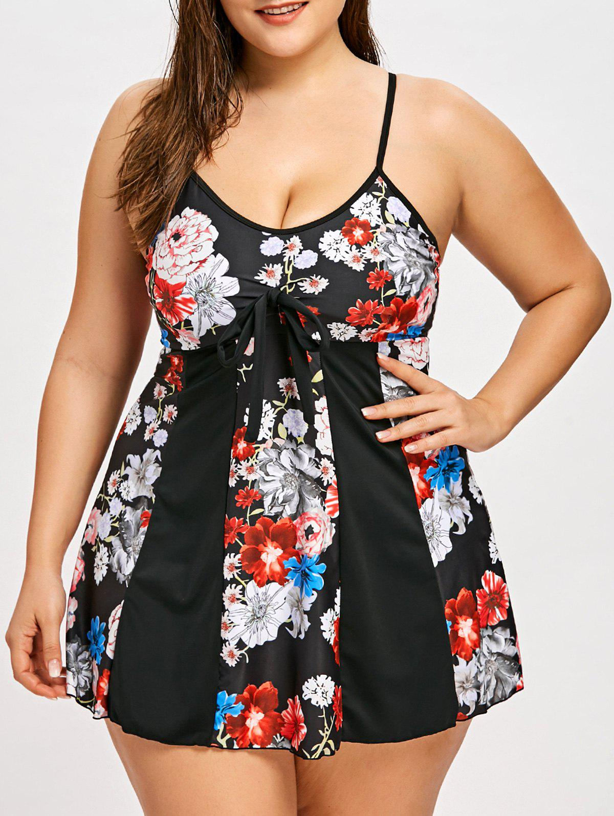 Shops Plus Size Tie Front Floral Skirted Tankini Swimsuit