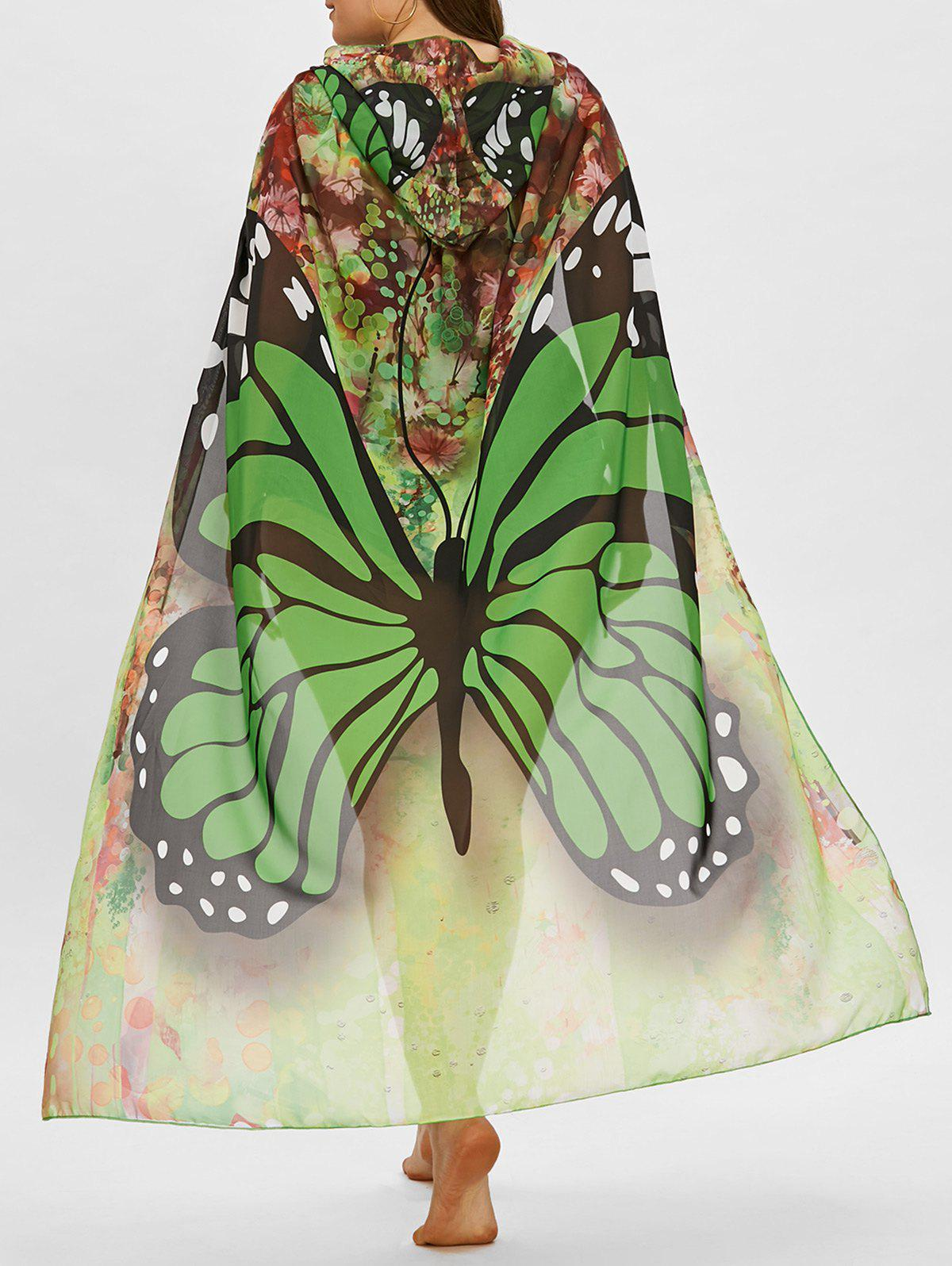 Shop Butterfly Print Plus Size Sheer Beach Cover Up