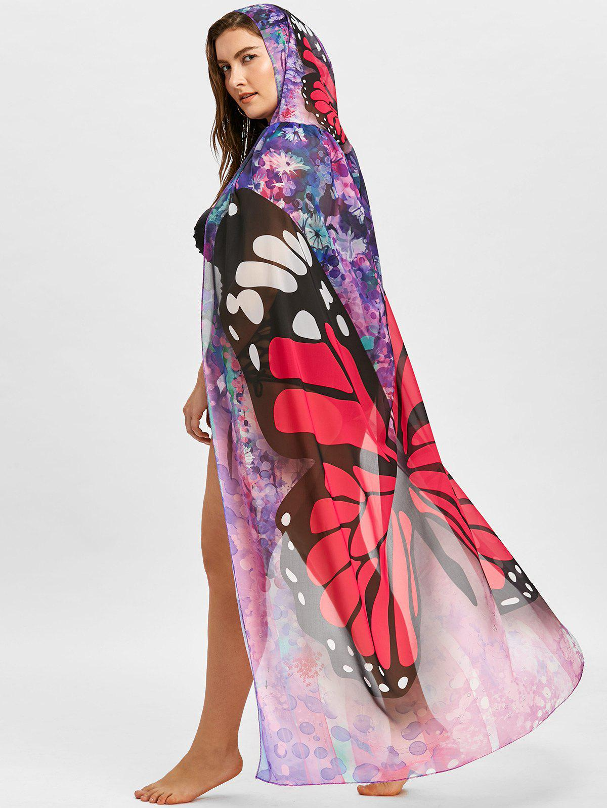 Online Butterfly Print Plus Size Sheer Beach Cover Up
