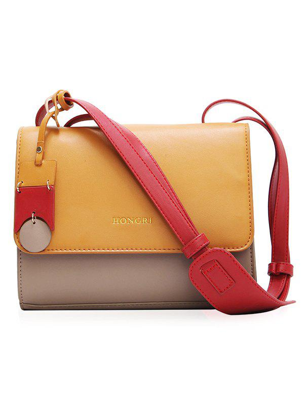 Outfit PU Leather Stitching Color Crossbody Bag