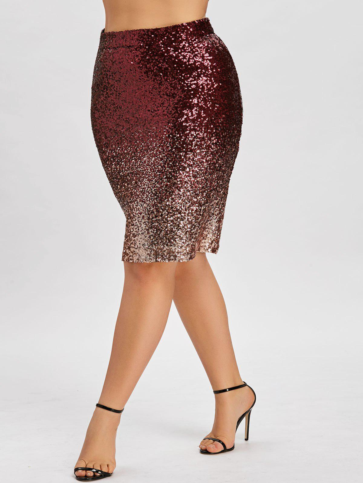 Latest Plus Size Ombre Color Sequin Bodycon Skirt
