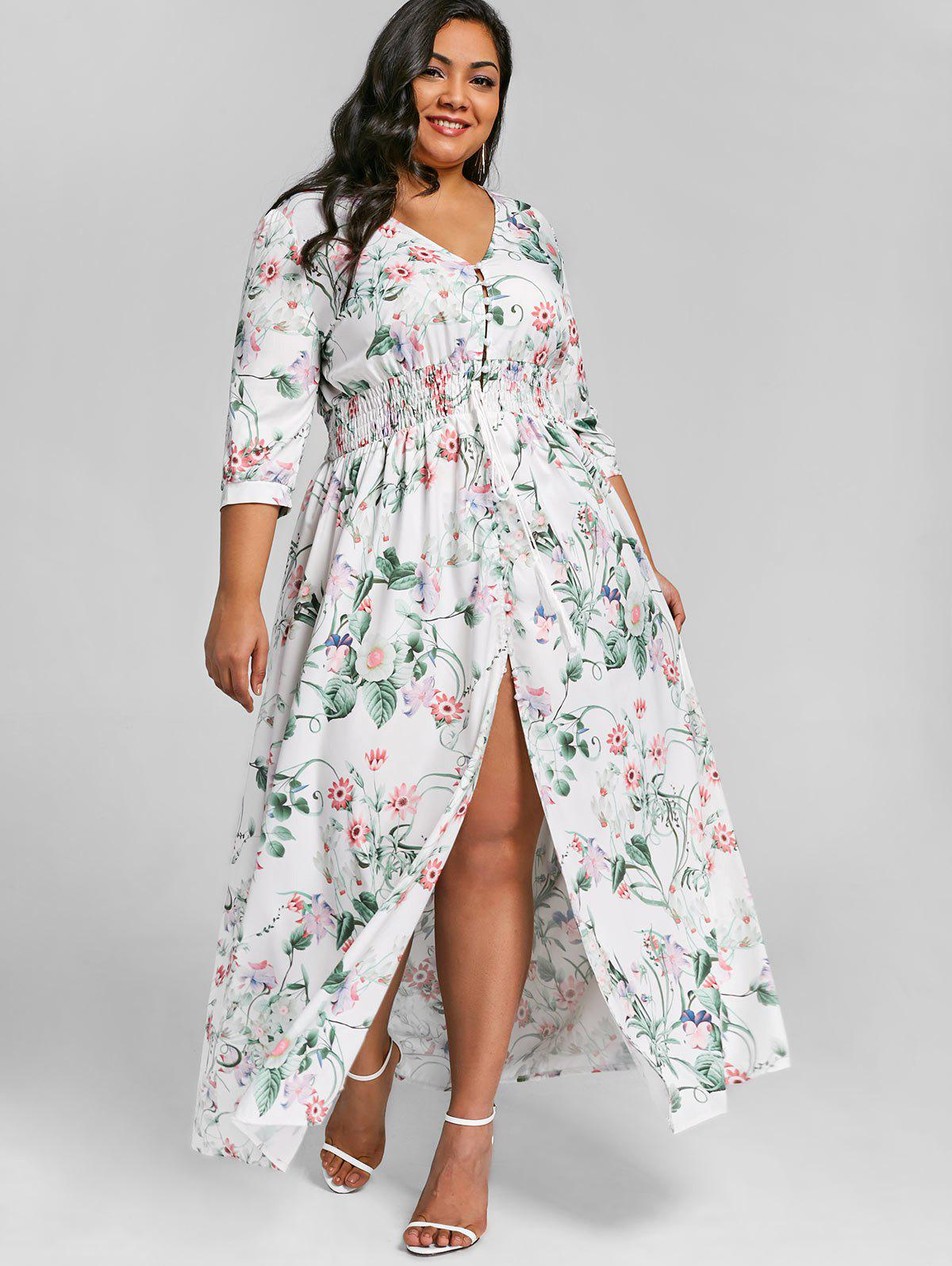 Sale Plus Size Floral Front Slit Floor Length Dress