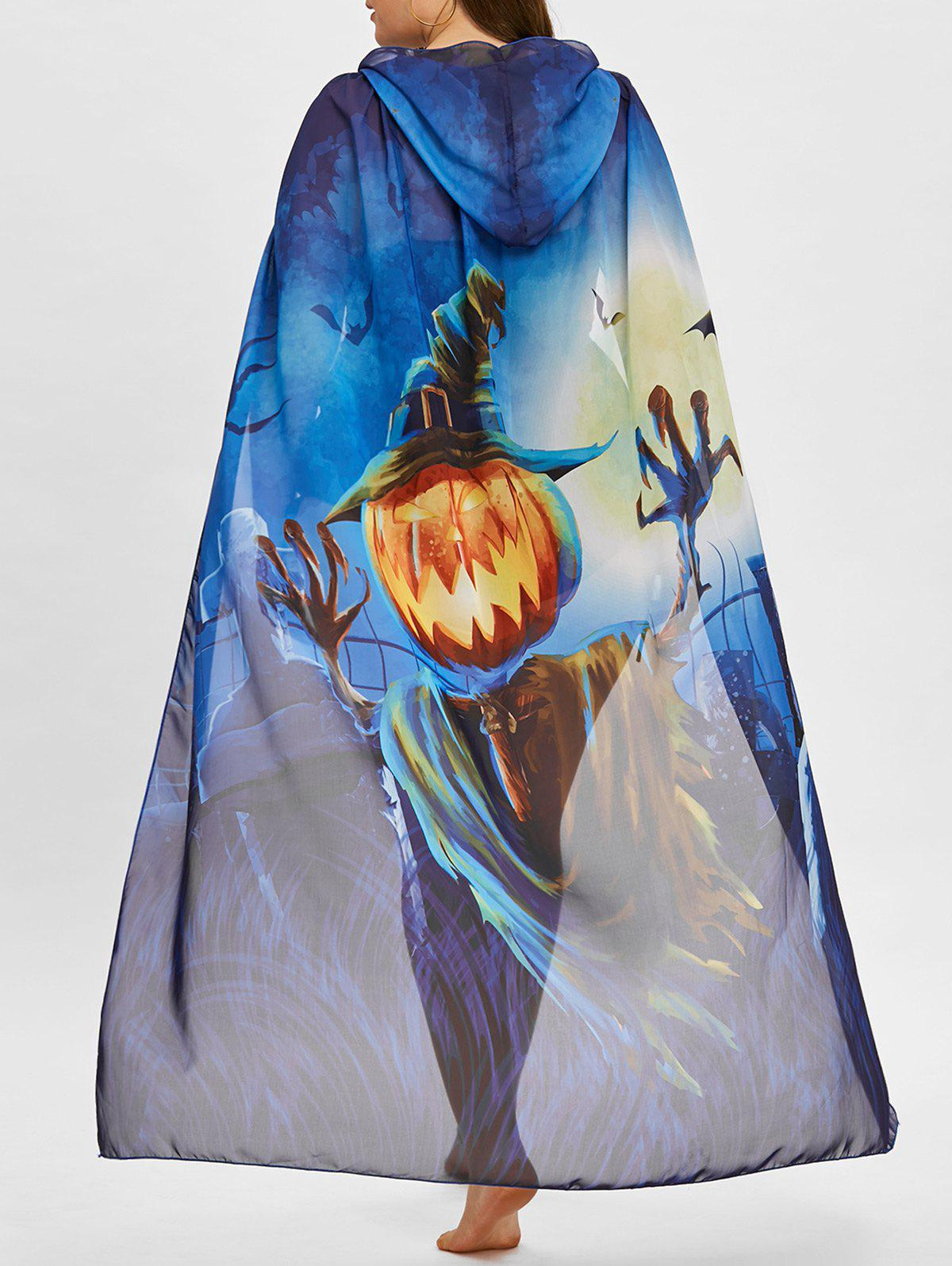 Discount Plus Size Pumpkin Print Ombre Sheer Cover Up
