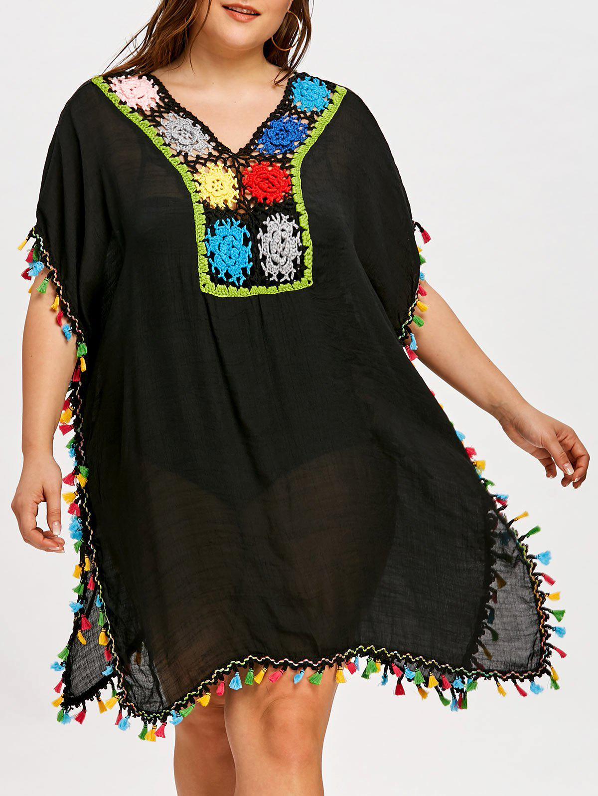 Store Plus Size Tassel Sheer Cover Up Dress