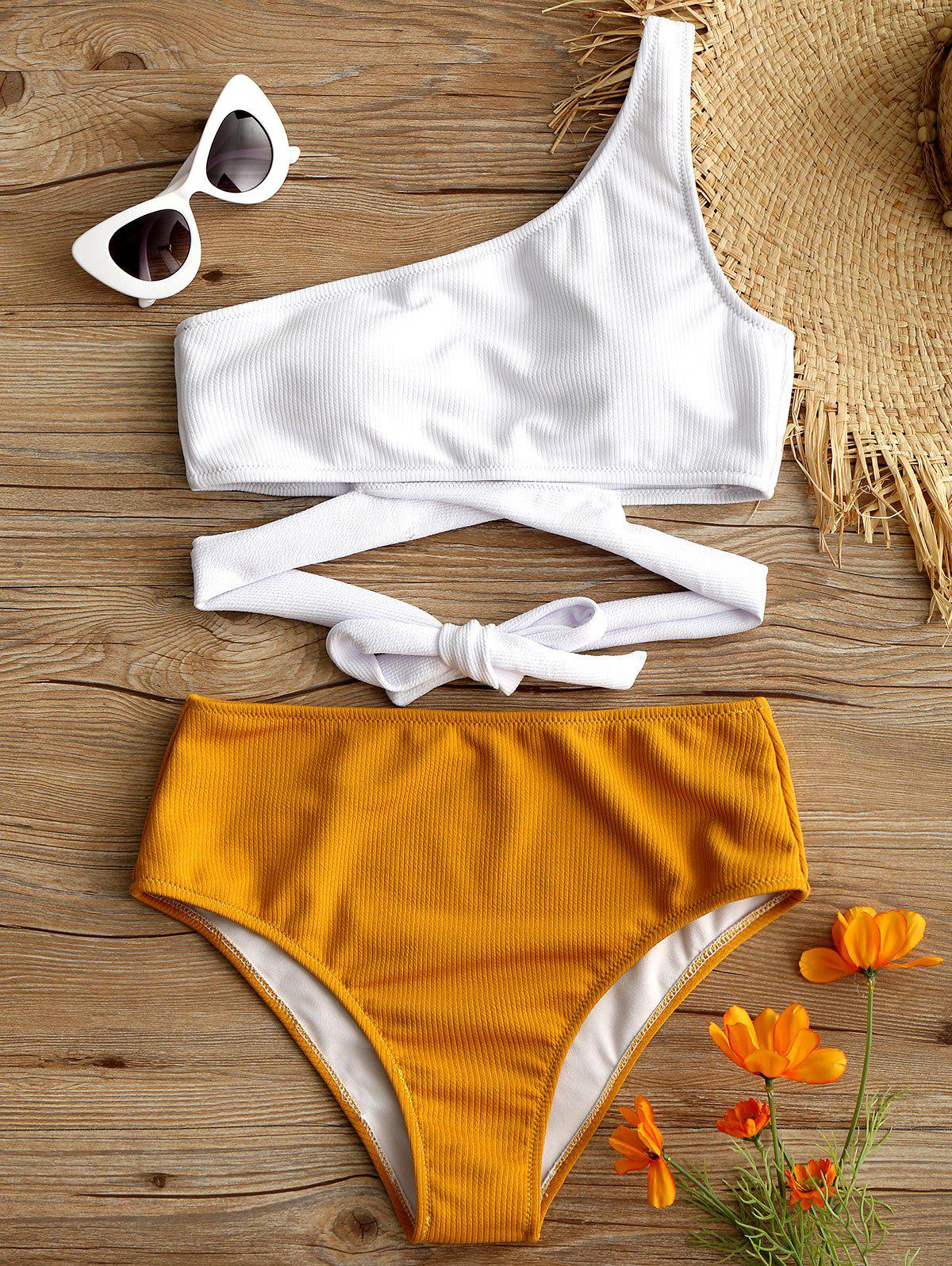 Discount High Leg One Shoulder Two Tone Bikini