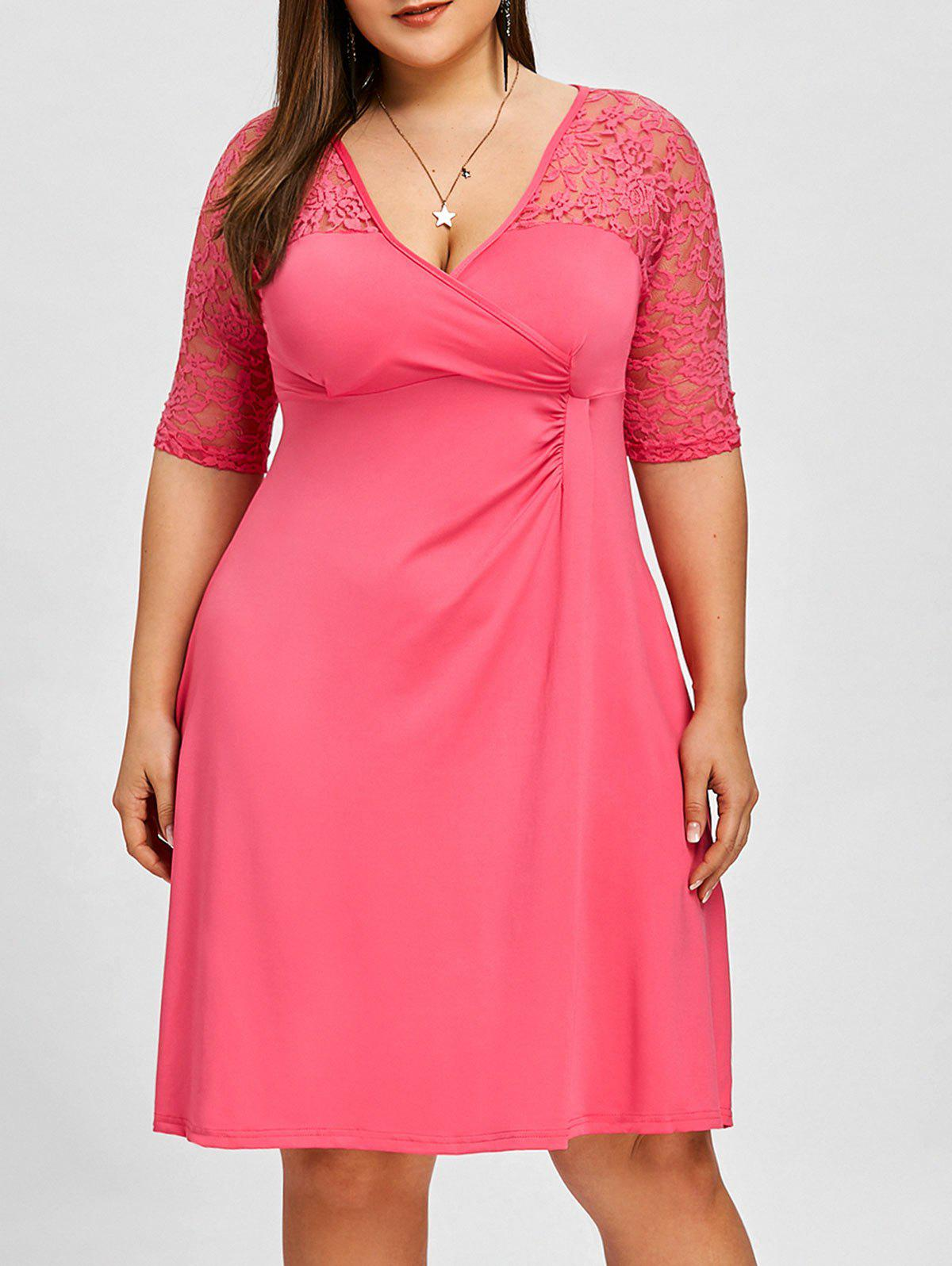 Latest Translucent Lace Insert Plus Size Surplice Dress