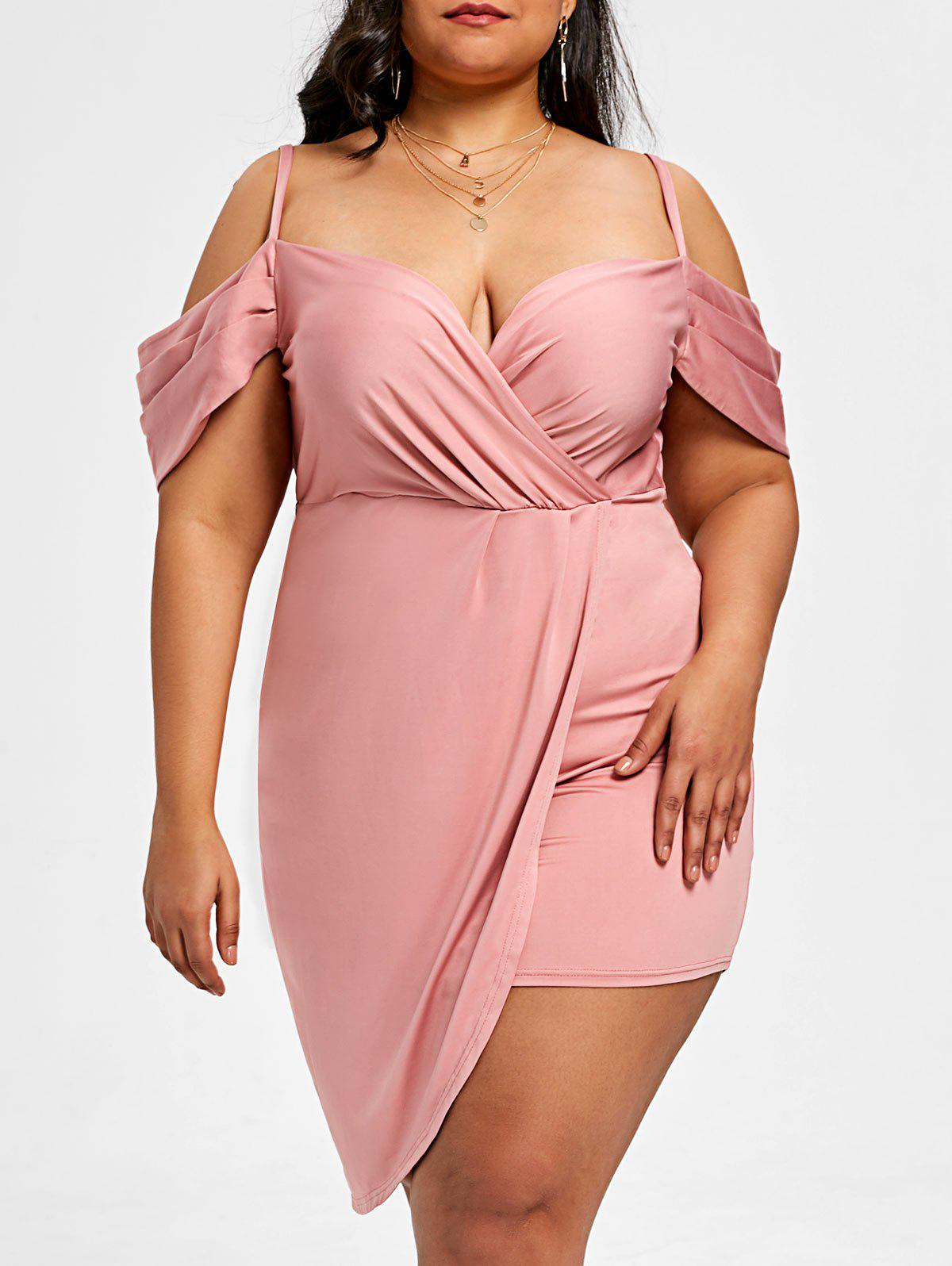 Outfits Plus Size Dew Shoulder Mini Asymmetric Dress
