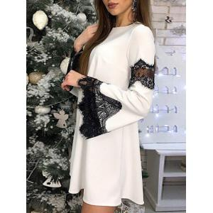 Flare Sleeve Lace Panel Shift Dress -