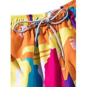 Lace Up Colorful Printed Board Shorts -