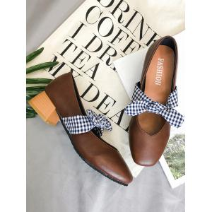 Plaid Bowknot Square Toe Pumps -