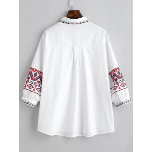 Ethnic Plus Size Geometric Embroidery Shirt -