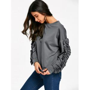 Ruffles Sleeve Drop Shoulder Sweatshirt -