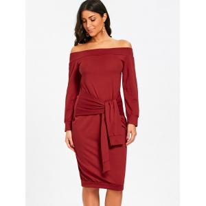 Off The Shoulder Tie taille robe Sweat -