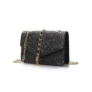 Sequined Shimmer Flap Crossbody Bag -