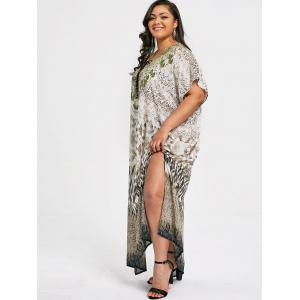 Plus Size Lace Up Illusion Print Kaftan Dress -