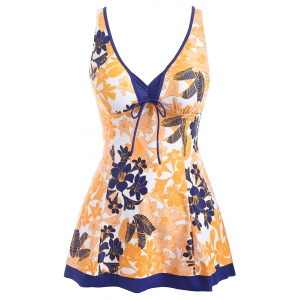 Empire Waist Flower Print Skirted Tankini -