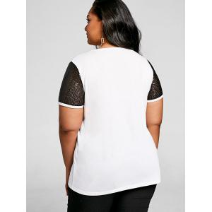 Graphic Plus Size Sequin Sleeve T-shirt -