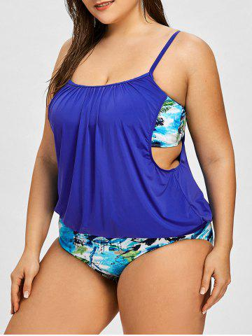 Latest Plus Size Scrawl Double Up Tankini Set