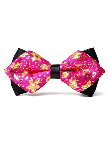 Chic Floral Pattern Embellished Glitter Shimmer Bow Tie
