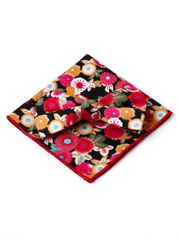 Fancy Floral Pattern Embellished Bow Tie and Handkerchief